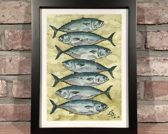 Art Print // TUNA STACKS - Ink & Watercolor