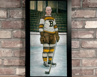 Art Print // EDDIE SHORE - Oil on Panel [Boston Bruins, NHL, Vintage]