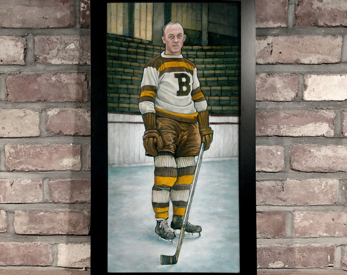 Featured listing image: Art Print // EDDIE SHORE - Oil on Panel [Boston Bruins, NHL, Vintage]
