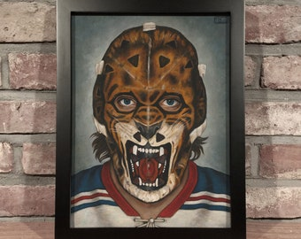 Art Print // GILLES GRATTON MASK - Oil Painting [New York Rangers, Tiger, Lion, Vintage, Original 6, Nhl]