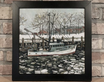 Art Print // FROZEN FISHING BOAT - Oil Painting
