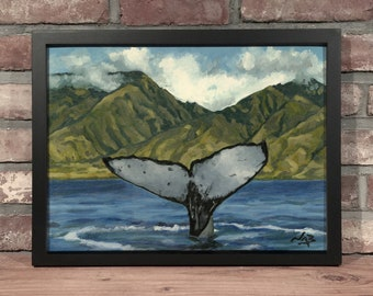 Art Print // WHALE TAIL - Oil Painting