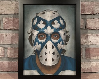 Art Print // WAYNE THOMAS MASK - Oil Painting [Toronto Maple Leafs, Vintage, Original 6, Nhl]
