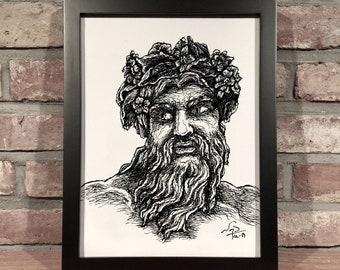 Art Print // JUPITER - Pen & Ink