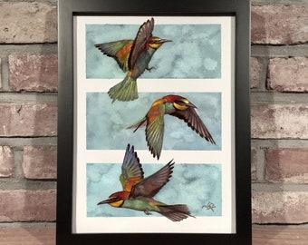 Art Print // THREE BIRDS - Gouache