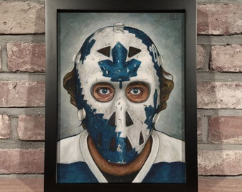 Art Print // MIKE PALMATEER MASK - Oil Painting [Toronto Maple Leafs, Vintage, Original 6, Nhl]
