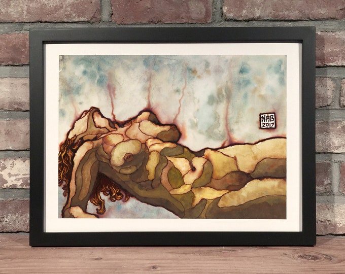 Featured listing image: Art Print // WOMAN LAYING - Ink & Gouache