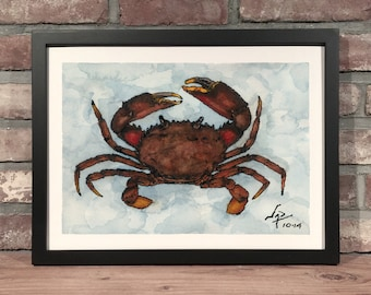 Art Print // STONE CRAB - Ink & Watercolor