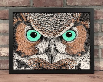 Art Print // OWL EYES - Pen & Ink
