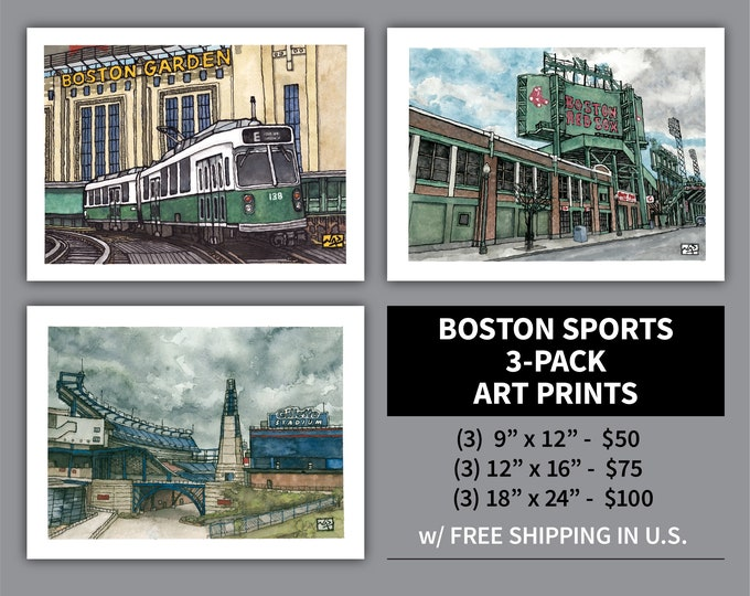 Featured listing image: Art Print 3 Pack // BOSTON SPORTS - Ink & Watercolor (Red Sox, Bruins, Celtics, Patriots, Fenway Park, Gillette Stadium, Garden)