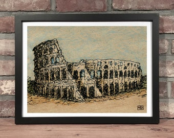 Art Print // COLOSSEUM - Ink & Colored Pencil