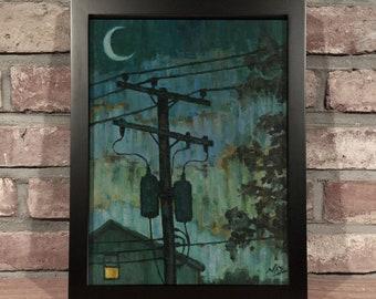 Art Print // UTILITY POLE - Oil Painting