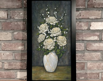 Art Print // WHITE ROSES - Oil on Panel