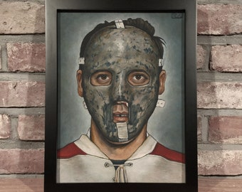 Art Print // JACQUES PLANTE MASK - Oil Painting [Montreal Canadiens, Vintage, Original 6, Nhl]