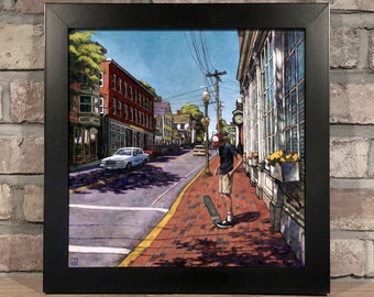 Art Print // SKATEBOARDER on MARKET St. AMESBURY, Massachusetts - Oil Painting