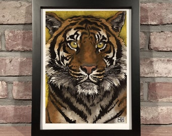 Art Print // TIGER - Ink and Gouache