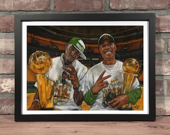 Art Print // BOSTON CELTICS Kevin Garnett and Paul Pierce - Oil Painting