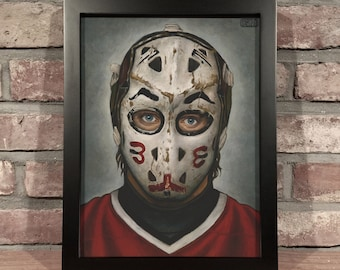 Art Print // MURRAY BANNERMAN MASK - Oil Painting [Chicago Blackhawks, Vintage, Original 6, Nhl]