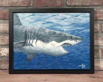 Art Print // WHITE SHARK - Oil Painting