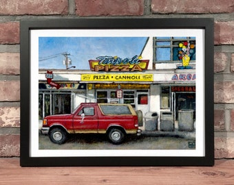 Art Print // TRIPOLI BEACH PIZZA Salisbury Massachusetts - Oil Painting
