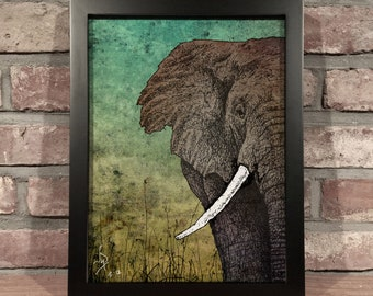 Art Print // ELEPHANT - Mixed Media