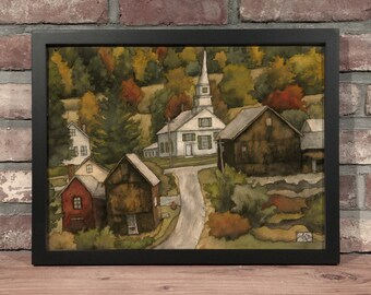Art Print // CHURCH IN AUTUMN - Gouache