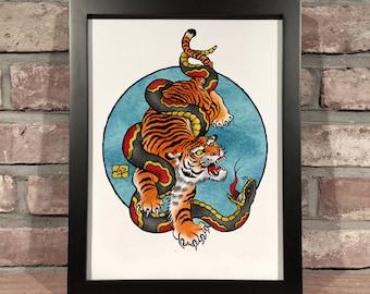 Art Print // TIGER SNAKE - Digital and Watercolor
