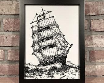 Art Print // CLIPPER SHIP - Pen and Ink