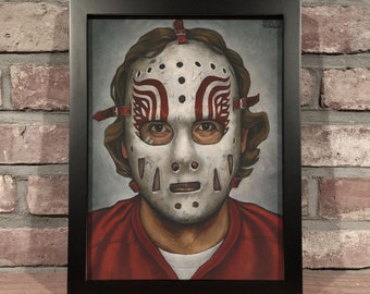 Art Print // JIM RUTHERFORD MASK - Oil Painting [Detroit Red Wings, Vintage, Original 6, Nhl]