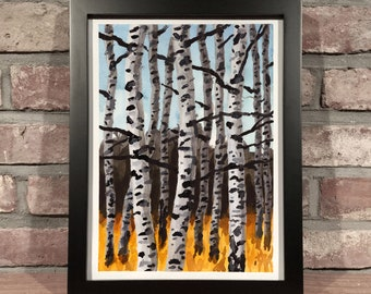 Art Print // BIRCH TREES - Watercolor and Acrylic