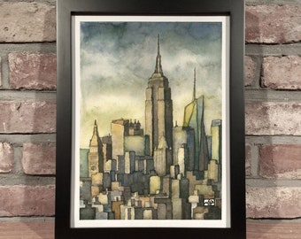 Art Print // NYC SKYLINE - Ink & Gouache