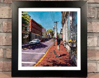 Art Print // SKATEBOARDER on MARKET St. AMESBURY, Massachusetts - Oil Painting