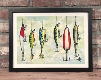 Art Print // FISHING LURES - Ink & Watercolor
