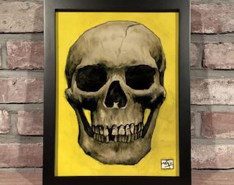 Art Print // SKULL YELLOW - Gouache