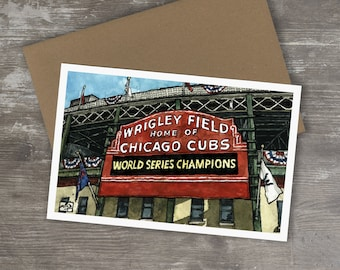 Greeting Card // WRIGLEY FIELD - Ink and Watercolor (Chicago Cubs)