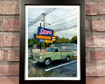 Art Print // SKIPS HAMBURGERS with FORD Truck - Oil Painting