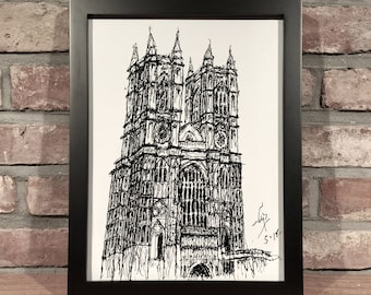 Art Print // WESTMINSTER ABBEY - Pen and Ink