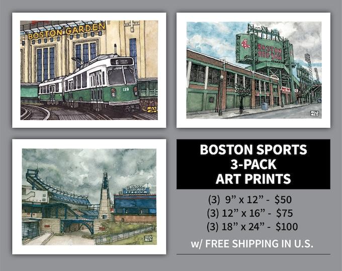 Featured listing image: Art Print 3 Pack // BOSTON SPORTS - Ink & Watercolor (Red Sox, Bruins, Celtics, Patriots, Fenway Park, Gillette Stadium, Garden)