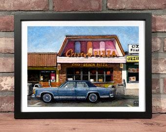 Art Print // CHRISTYS BEACH PIZZA Salisbury Massachusetts - Oil Painting