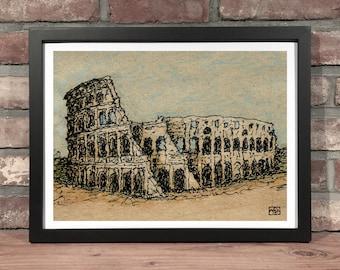 Art Print // COLOSSEUM - Ink & Colored Pencil
