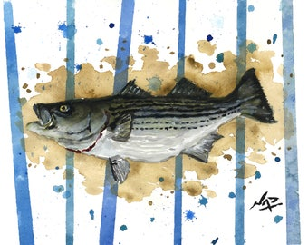 Art Print // STRIPED BASS - Watercolor