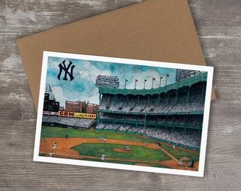 Greeting Card // 1950's YANKEE STADIUM - Ink and Watercolor (New York Yankees)