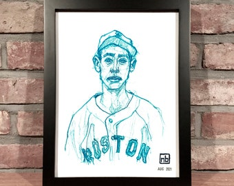 Art Print // TED WILLIAMS - Colored Pencil Drawing (Boston Red Sox, Vintage, American League)