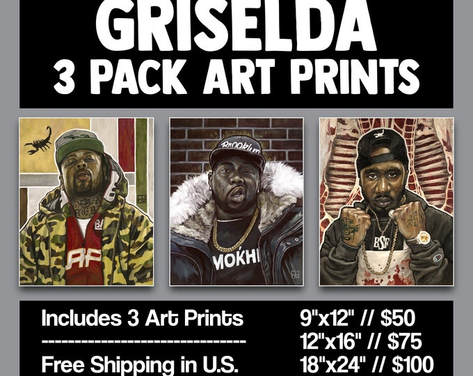 Featured listing image: Art Print 3 Pack // GRISELDA - Oil Paintings (Westside Gunn, Conway the Machine, Benny the Butcher)