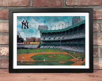 Art Print // 1950's  YANKEE STADIUM - Watercolor & Pen and Ink (New York, American League, World Series, Bronx)