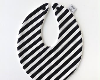 Little black & white striped cotton bib with press button