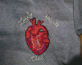 Hand Embroidered Lonely Hearts Club T-Shirt// Anatomical Heart Embroidery