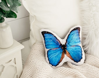 Morpho Butterfly Pillow, Christmas Gift, Housewarming Gift, Teen Room, Nature Photography
