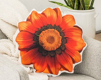 Orange Flower Pillow, Flower Decor ,Linen Throw Pillow, Couch Art, Living and Home, Nature Decor, Housewarming Gift, Christmas Gift