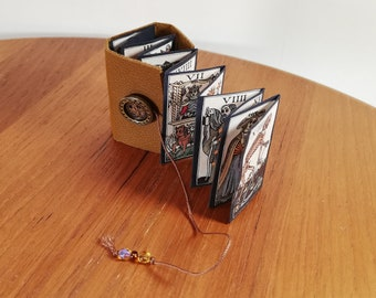 Small book accordion handmade leather cover tarot cards